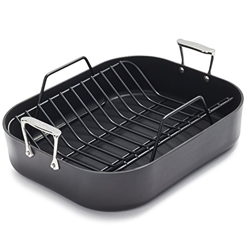 All-Clad E7649764 HA1 Hard Anodized Nonstick Dishwasher Safe PFOA Free Roaster Cookware, 13-Inch by 16-Inch, Black
