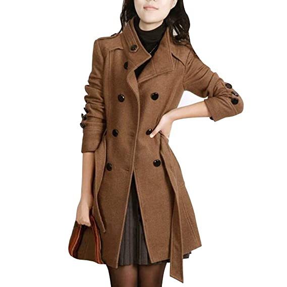 official photos 5d58b 5cf09 Foluton Damen Wintermantel Mit Bindegürtel Zweireihige Knopf Stehkragen  Einfarbig Zwei Taschen Elegant und Modisch Schlack Trenchcoat Wollmantel ...