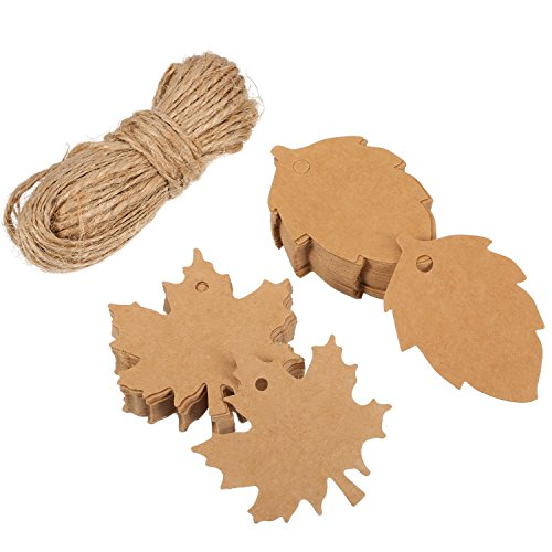 Shappy 100 Pieces Maple and Leaf Kraft Gift Paper Tags for Christmas Day and Holiday, Wedding, Parties, Arts and Crafts with 65.6 Feet (Leaf Gift)