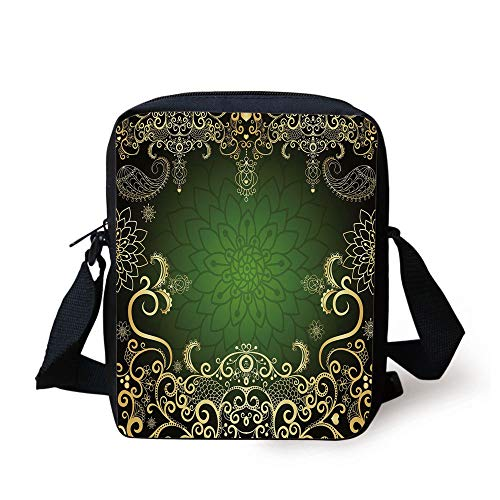 Gold Mandala,Arabesque Frame with Lotus Shade Floral Swirls Little Hearts and Dots Decorative,Green Gold Black Print Kids Crossbody Messenger Bag Purse