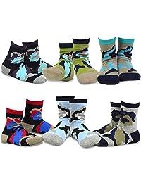 TeeHee Kids Boys Cotton Fashion Fun Crew Socks 6 Pair Pack