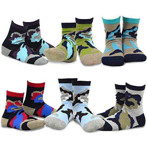 TeeHee Kids Boys Cotton Fashion Fun Crew Socks 6 Pair Pack (3-5Y, Camo)