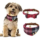 B Bascolor Pet Collar with Bell Leather and Plaid