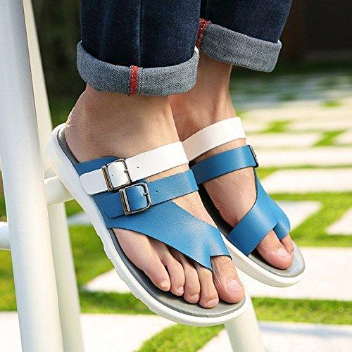 Bininbox Mens Läder Sommaren Stranden Skor Tofflor Mjuka Sandaler Flip Flops Blue