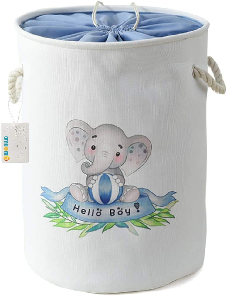 W/äsche OYHOMO Faltbare Aufbewahrungskorb Gro/ße Stoff W/äschekorb Kinderzimmer Baby Organizer Sch/ön Aufbewahrungskiste mit Kordelzug f/ür Spielzeug Kleidung Blau Elefant