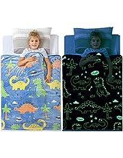 "Glow in The Dark Dinosaur Blanket for Boys – Premium Soft Blue Fleece Throw Blanket. Great Dinosaur Gifts for Kids, Grandkids, Baby, Toddler, Birthday! 6+ Hour Glow (50""X60"")"