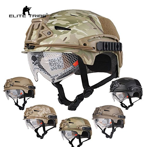 Paintball Equipment Airsoft Hunting Tactical Helmet Combat Helmet with Goggle (Black) by Paintball Equipment