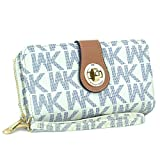 MKP Collection Card Case Wallets, Zip Around and Twist Lock Wallet. Wallet for woman,Wallet for all season.Fashion Wallet (912) White