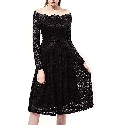 Changuan Women's Vintage Long Sleeve Retro Cocktail Prom Dresses Size L Black