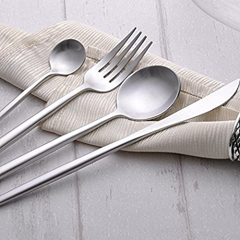 Sino Banyan Luxury Flatware Set,18/10,Gift Package,1Set 4Pcs,Silver - Damascus Medallion