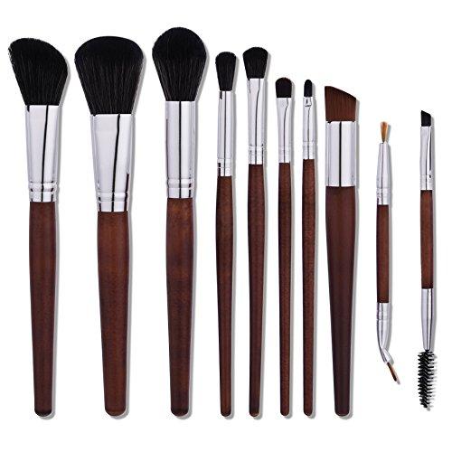 Nestling Makeup Brushes, 10 Pieces Professional Eye Makeup Cosmetics Brush Set, Eyeliner, Eye Shadow, Eye Brow, Foundation, Powder Liquid Cream Blending Brush, Premium Wooden Handles
