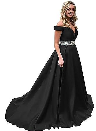 Elenadressy Off Shoulder Beaded Prom Dress Corset Evening Formal