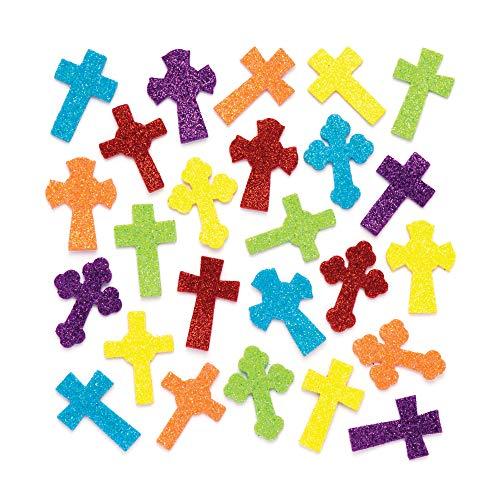 (Baker Ross Cross Glitter Foam Stickers (Pack of 120) Puffy Scrapbook Stickers in Fun Self Adhesive Foam)