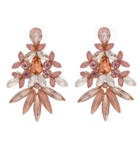 LPON Bohemian Statement Tassel Chandelier Drop Dangle Earrings with Cassandra Button Stud (Crystal-Rose Gold) Crystal Gold Button Earrings
