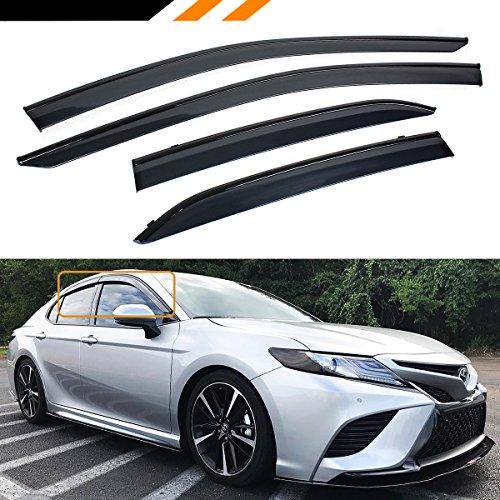 Cuztom Tuning Fits for 2018 2019 Toyota Camry LE SE XLE XSE Clip-on Type Sport Black Trim Window Visor Rain Guard Deflector