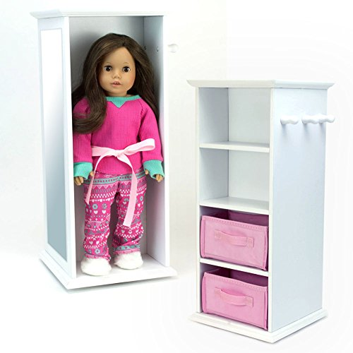 Sophia's Doll Storage Tower Swivels in White Wood for 18 Inch American Girl Dolls & More! 18 Inch Doll Wood Swivel Tower w/ Doll - Doll American Storage