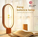 Bedroom Table Lamp, USB Powered Heng Balance LED Lamp Made by Beech Wood with Magnetic Floating Balls Switch, Eye-Care Computer Desk Lamp for Modern Bedside, Reading, Office, Dining & Coffee Table