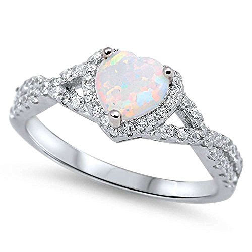 Heart with Lab Created White Opal .925 Sterling Silver Ring Size 9