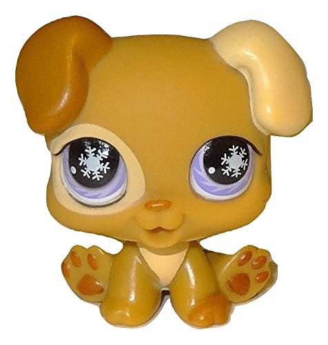 LPS Littlest Pet Shop Rare Tan & Cream Boxer Puppy Dog with Lavender Purple Snowflake Eyes #760 Replacement Part Loose/Packaged in Parts Bag ()