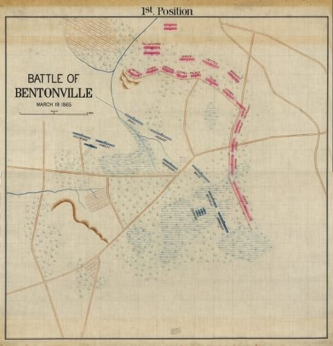 1865 Map Battle of Bentonville, March 19, 1865. - Size: 24x24 - Ready to Frame - Bentonville   - March Holidays In Odd