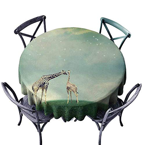 (duommhome Giraffe Stain-Resistant Tablecloth Mother Child Animal on Meadow Fairytale Atmosphere Shining Stars Romance Moon Image Indoor Outdoor Camping Picnic D55 Multicolor)