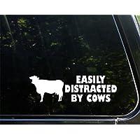 "Sweet Tea Decals Easily Distracted by Cows - 8 3/4"" x 2 3/4""- Vinyl Die Cut Decal for Windows, Trucks, Cars, Laptops, Glasses. Mugs, Etc."