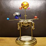 Leowefowa 10X10FT Vinyl Photography Backdrop Shabby Chic Texture Wall Orrery Steampunk Art Clock with Planets of The Solar System Background Kids Adults Photo Studio Props
