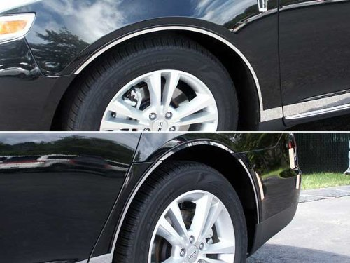 QAA FITS MKS 2013-2016 LINCOLN (8 Pc: Stainless Steel Wheel Well Accent Trim w/3M Adhesive & Black Rubber Gasket - cut to the rocker, 4-door) WQ53625