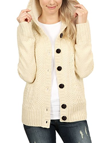 Blibea Womens 2018 Amazon Autumn Winter Long Sleeve Hoodie Knit Cardigans Button Down Cable Sweater Coats Large Apricot (Apricot Hooded Long Sleeve Cardigan Sweater Coat)