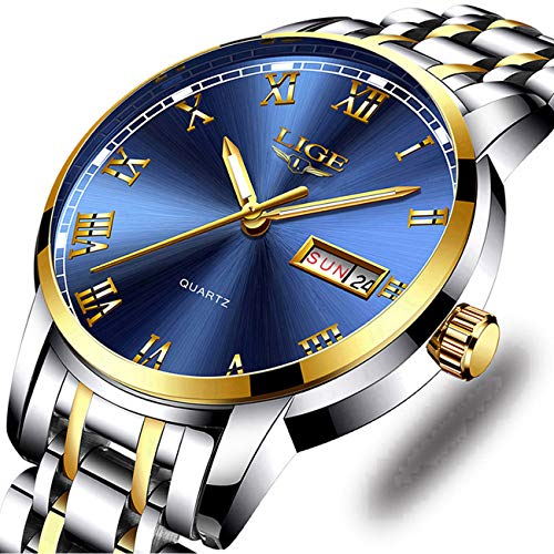 (Watches,Mens Full Stainless Steel Luminous Quartz Watch Fashion Casual Business Dress Wristwatch Waterproof 30M Water )