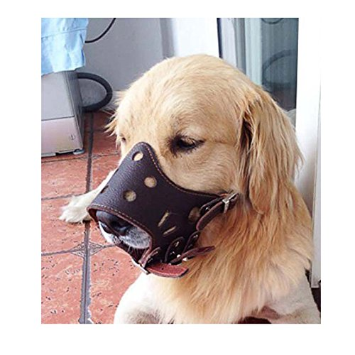 Ennc Pet Muzzles Adjustable Anti-biting Leather Dog Muzzle Flexible Leather Breathable Safety Pet Dog Muzzles Mask for Biting and Barking Lightweight and Durable for Dogs Puppy by Ennc (Image #4)'