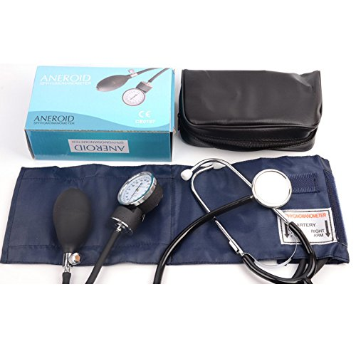 Manual Adult Size Deluxe Aneroid Sphygmomanometer - Professional Blood Pressure BP Monitor with Adult Cuff Set Sphygmomanometer Stethoscope Kit and Carrying Zipper case FDA by None (Image #8)