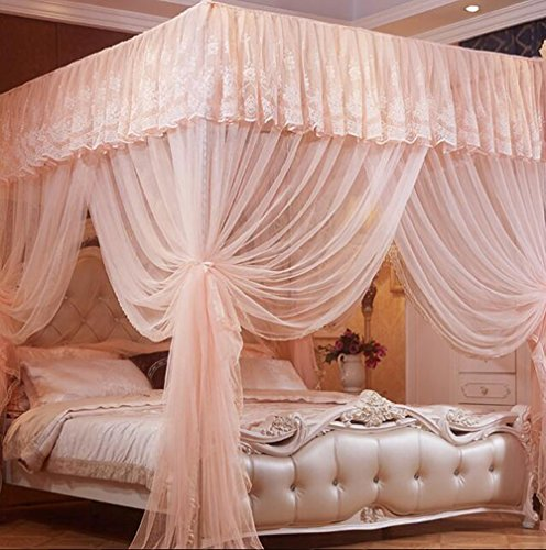 - Nattey 4 Corner Poster Princess Bedding Curtain Canopy Mosquito Netting Canopies (Twin, Peach)