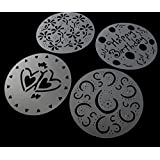 EWIN(R) 1 Set Of 4 Variety Cake Cupcake Stencil Template Mould Birthday Heart Flower Spirals Decorating Tools
