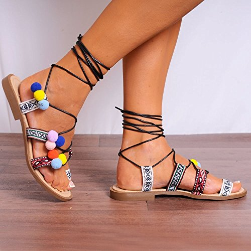 Ladiesblack Azteco Multi Colorate Pom Poms Pizzo Wrap Up Gladiatori Peep Dita Dei Piedi Piatto Strappy Sandali UK4/EURO37/AUS5/USA6