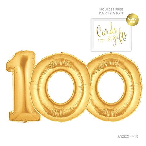 100th Birthday Balloons (Andaz Press Giant Gold Helium Foil Balloon Party Kit with Sign, Jumbo 40-inch, Number 100, Metallic Gold Shiny Mylar, 1-Pack, Includes Free Party Sign!, 100th Birthday Party Decor)