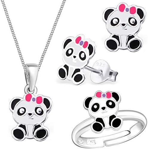 Kids Panda Ring Anhänger Kette Ohrstecker 925 Echt Silber Kinder Mädchen Pandabär Set