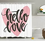 Vintage Decorations Shower Curtain Set By Ambesonne, Lettering Poster With A Phrase Hello Love Over Heart Shape Illustration Art, Bathroom Accessories, 75 Inches Long