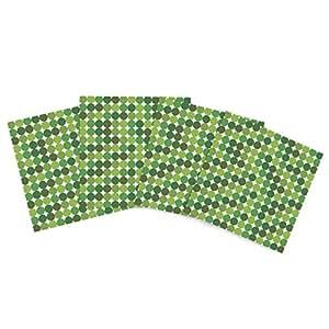 """Kess InHouse Kess Original """"Noblefur Green"""" Dots Outdoor Place Mat, 15 by 15-Inch, Set of 4"""