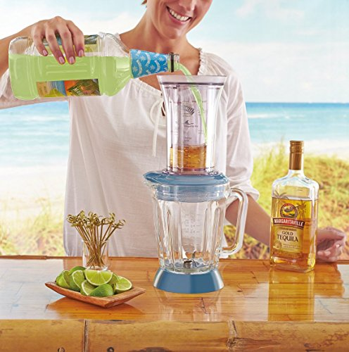 Margaritaville Key West Frozen Concoction Maker with Easy Pour Jar and XL Ice Reservoir 3 Makes up to 2.5 pitchers of frozen concoctions thanks to its extra-large ice reservoir Creates premium shaved ice rather than crushed ice like a blender, for an authentic frozen concoction experience. Key West Frozen Concoction Maker with 36-ounce blending jar for creating fun, tropics-inspired party drinks Includes 4 pre-programmed drink settings, plus automatic shave 'n blend cycle and manual blend only/shave only cycles