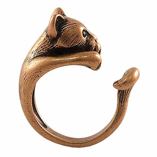 (Ellenviva Enhanced Big Cat Adjustable Animal Wrap Ring Vintage Bronze Tone)