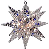 Moravian Star Light, Flower Pierced Tin, Silver with Marbles, 12""