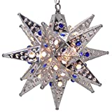 Moravian Star Light, Flower Pierced Tin, Silver with Marbles, 12''