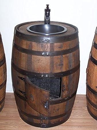 Whiskey Barrel Sink With Dark Copper Sink, Bronze Faucet And Access Door
