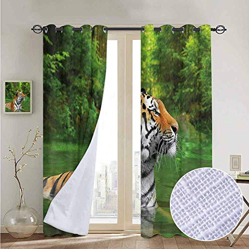 (NUOMANAN backout Curtains for Bedroom Tiger,Siberian Wild Cat in Lake,Pocket Thermal Insulated Tie Up Curtain 54