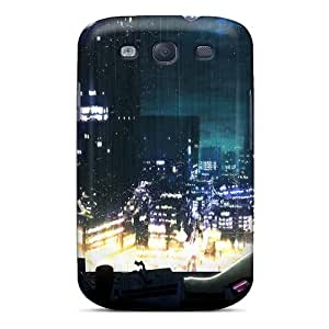 Galaxy S3 Case, Premium Protective Case With Awesome Look - Hatsune Miku Aqua Hair Anime Girls Rain On Glass