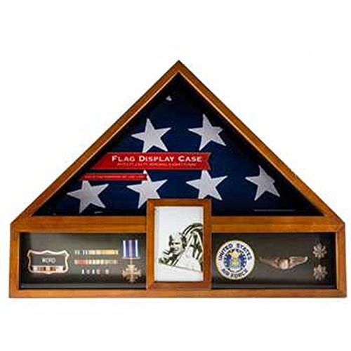 Military Veteren Flag and Medal Display Case - Shadow Box by Generic