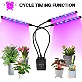 Grow Light Indoor Plants, 3-Head 30W Timing Function (Cycle Timer) 3H/6H/12H with 60 LED, 3 Lighting Modes, 5 Dimming Levels for Hydroponics Greenhouse Gardening Seeding Growing Germination Flowering