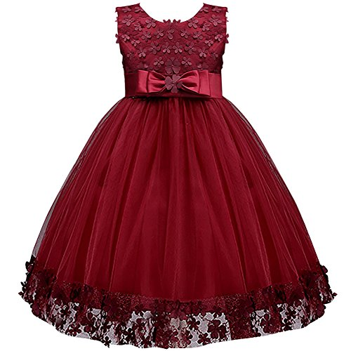IBTOM CASTLE Big Little Girl Ball Gown Lace Flower Girl Dresses for Wedding Burgundy 3t -