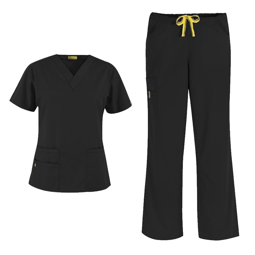 WonderWink Origins Women's 6016 Bravo Top & Romeo Pant 5026 Medical Uniform Scrub Set (Black - Small/Medium Tall)
